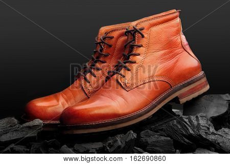 Brown Leather Boots Polish.waxing Boots.on Charcoal