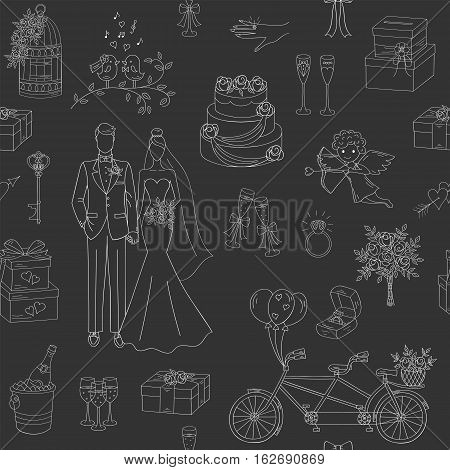 Wedding vector seamless background with hand drawn icons bride, groom, wedding cake, cupid, bicycle, bouquet, ring, arch, gift box, birdcage and champagne