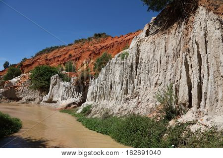 Extremely romantic place Suoi Tien (Fairy Stream) at the north end of Mui Ne town in Vietnam