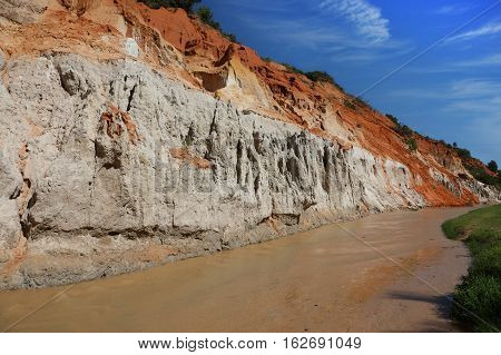 Fairy Stream (Red river between rocks and jungle) in Mui Ne Vietnam.