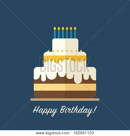 Birthday cake flat vector. Greeting card in retro style