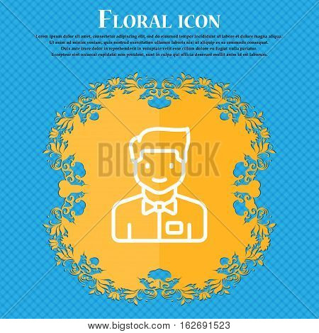 Waiter Icon Sign. Floral Flat Design On A Blue Abstract Background With Place For Your Text. Vector