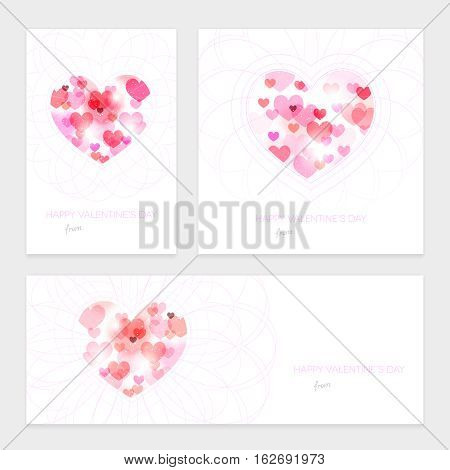 Set of Valentines wishes with abstract hearts and curls - vector illustration