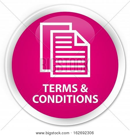 Terms And Conditions (pages Icon) Premium Pink Round Button