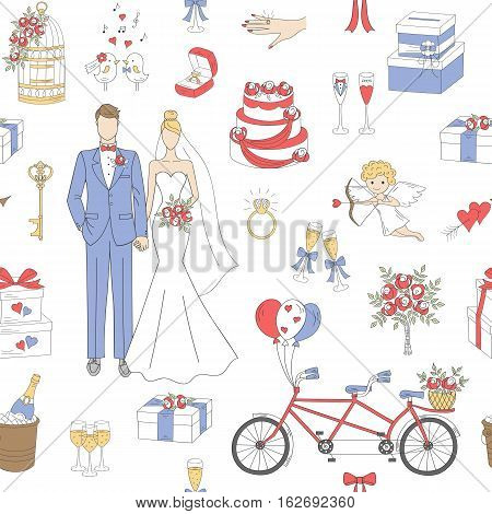 Wedding vector seamless background with hand drawn icons bride, groom, wedding cake, cupid, bicycle, bouquet, ring, arch, gift box and birdcage.