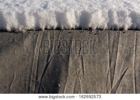 Snow On Car Covered With Grey Tilt