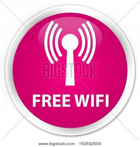 Free Wifi (wlan Network) Premium Pink Round Button