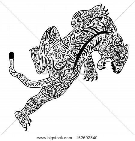 Tiger chinese zodiac sign zentangle stylized, vector, illustration, pattern, freehand pencil, hand drawn. Ornate.