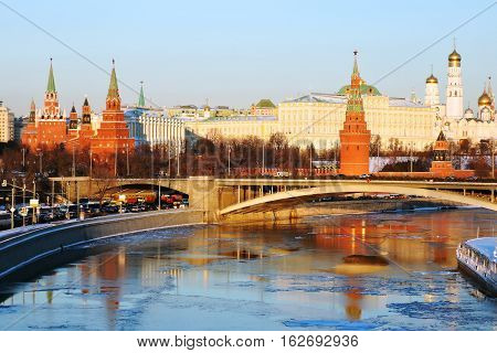 Moscow Kremlin in winter. Color photo. Bridge over Moscow river.