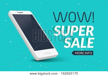 Super sale phone banner. Mobile clearance sale discount poster. Smartphone sale. Marketing special offer promotion.