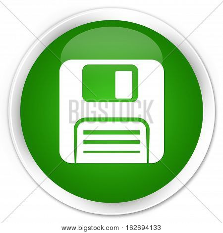 Floppy Disk Icon Premium Green Round Button