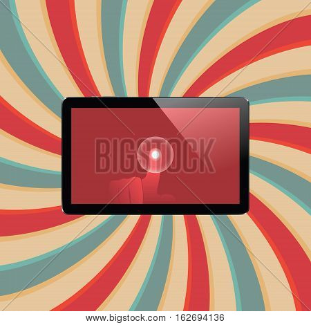 Digital tablet with shiny sensor screen with touch hand on abstract swirl colorful lines retro background. Electronic smart device. Mobile gadget. Vector illustration