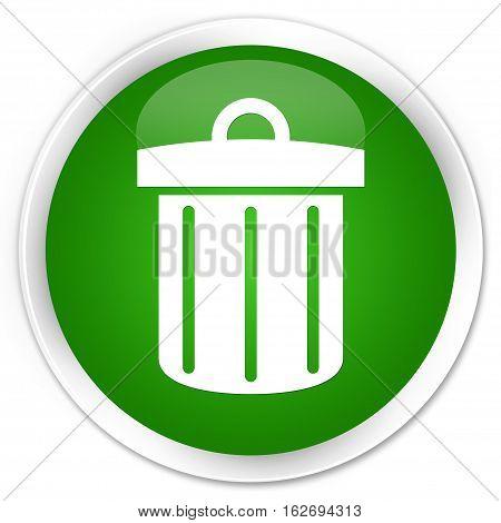 Recycle Bin Icon Premium Green Round Button