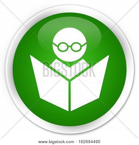 Elearning Icon Premium Green Round Button