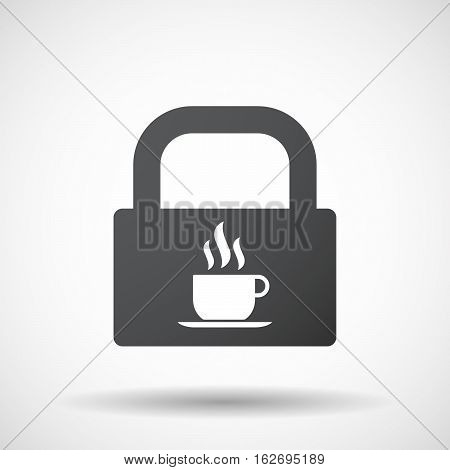 Isolated Lock Pad With A Cup Of Coffee