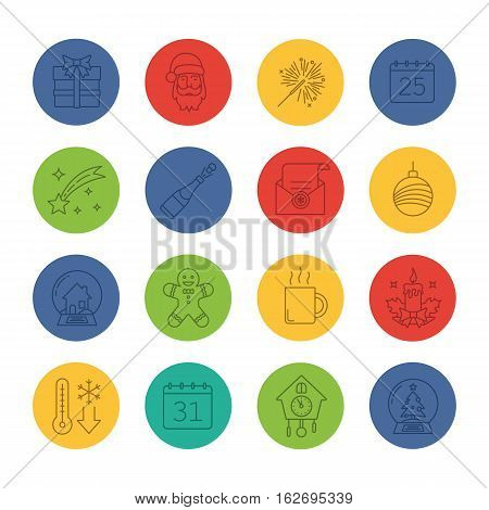 Christmas and New Year linear icons set. Gift box, Santa Claus, sparkler, candle, Xmas tree ball, snow globes, ginger man, champagne. Thin line contour symbols on color circles. Vector illustrations