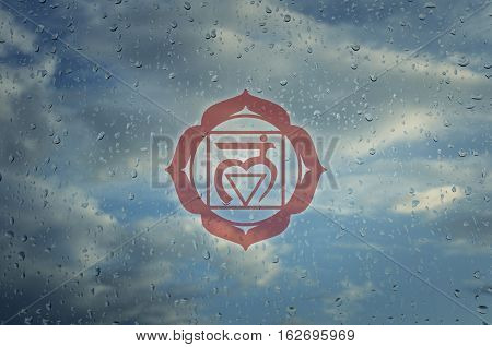 Muladhara chakra symbol. Poster for yoga class with a clouds view.