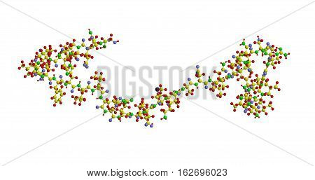 Molecular structure of Corticotropin - releasing hormone peptide hormone and neurotransmitter 3D rendering
