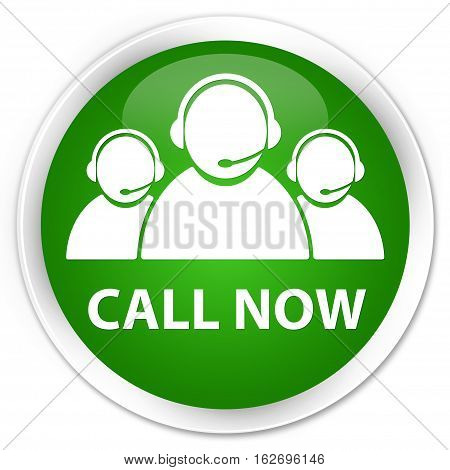 Call Now (customer Care Team Icon) Premium Green Round Button