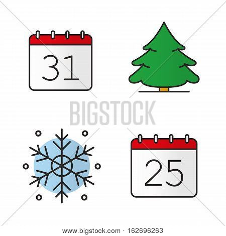 Christmas and New Year color icons set. December 25 and 31, snowflake, fir tree. Christmas and New Year days. Isolated vector illustrations