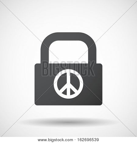Isolated Lock Pad With A Peace Sign