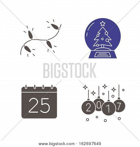 Christmas icons set. New Year silhouette symbols. Xmas tree lights and 2017 balls, snow globe, December 25. Vector isolated illustration
