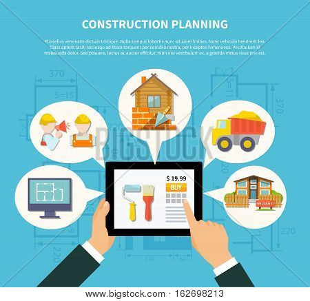 Flat construction planning diagram concept with hand holding tablet and building scheme contractor house truck vector illustration