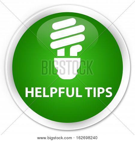 Helpful Tips (bulb Icon) Premium Green Round Button