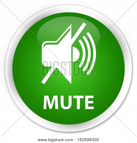 Mute Premium Green Round Button