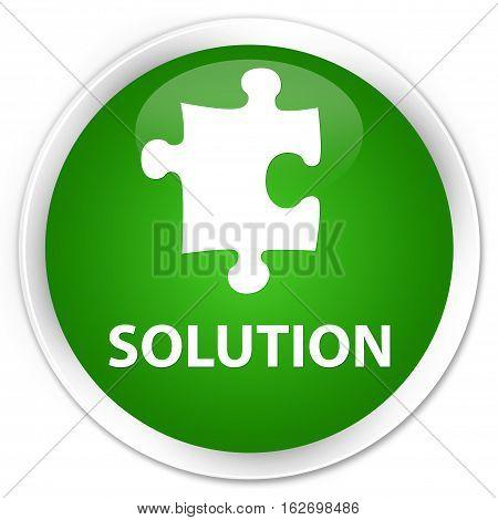 Solution (puzzle Icon) Premium Green Round Button