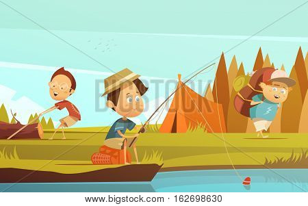 Camping children background with fishing tent and rucksack cartoon vector illustration