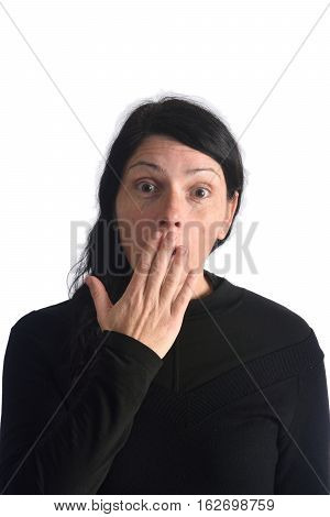 A woman who has a fright isolated on a white color