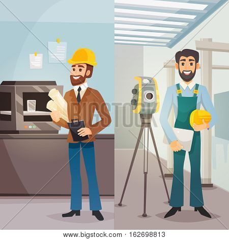 Engineers vertical banners with male architect  worker and surveyor in flat style vector illustration