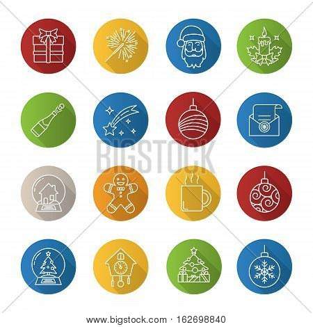 Christmas and New Year. Flat linear long shadow icons set. Xmas tree balls, snow globes, sparkler, letter to Santa Claus, candle, clock, mug, gingerman, champagne. Vector line illustration