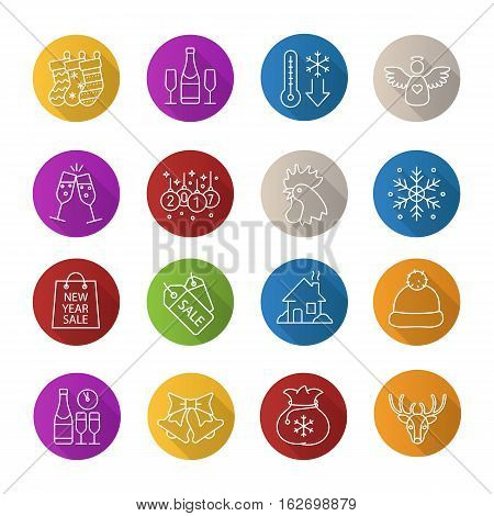 Christmas and New Year. Flat linear long shadow icons set. Champagne, temperature falling, Xmas tree ball, angel, rooster, snowflake, house, hat, jingle bells, reindeer. Vector line illustration
