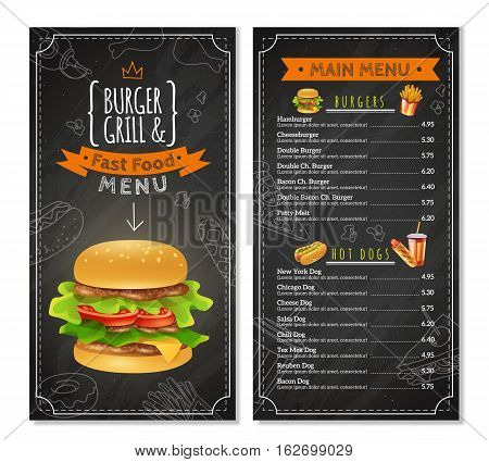 Fast food menu with prices different kinds of burgers and hot dogs vector illustration