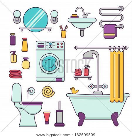 Bath equipment icons made in modern line style. Colorful clip art vector illustration for bathroom interior design. Isolated vector symbols of mirror, bath, toilet, sink, shower, soap, towel, faucet.