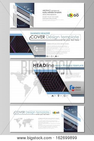 Social media and email headers set, modern banners. Business templates. Easy editable abstract design template, vector layouts in popular sizes. Abstract polygonal background with hexagons, illusion of depth and perspective. Black color geometric design,