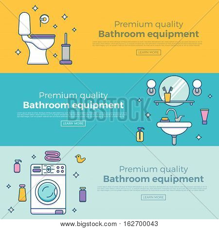 Colorful banner template set with bathroom equipment icons and symbols. Vector illustration in outline flat style. Bathroom equipment and interior web site design element.
