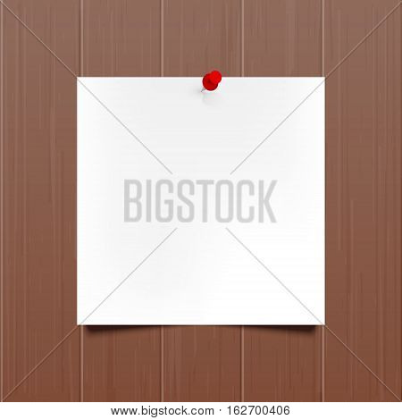 Vector mockup. Sheet of paper with a red push pin hanging on a brown wooden wall. Empty blank. Wood texture with vertical stripes rustic panels. Hardwood background. Creative interior template.