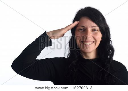 Woman making a military greeting on a white background color