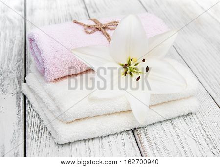 Wellness and spa scene with white lilies