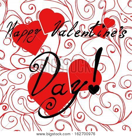 Happy Valentine's Day card with red hearts and abstract bg