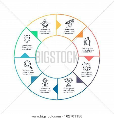 Circular chart, diagram with 8 steps, options. Vector design element.