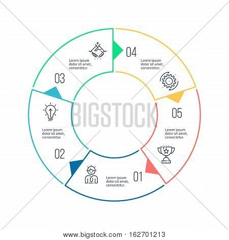 Circular chart, diagram with 5 steps, options. Vector design element.