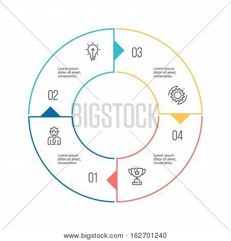Circular chart, diagram with 4 steps, options. Vector design element.