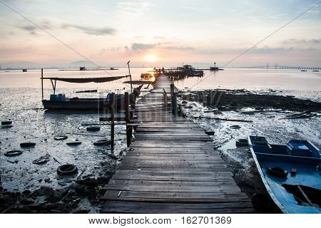 Wooden bridge sunrise for background and commercial