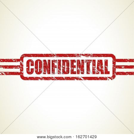 a red worn and broken confidential stamp