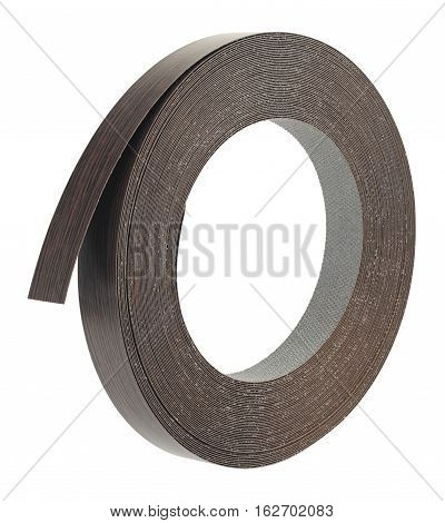 Plastic pre glued edge banding tape for furniture decor and repair. Object is isolated on a white background.
