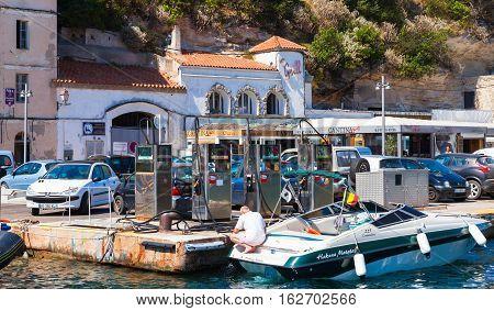 Boat On Gas Station. Marina Of Bonifacio